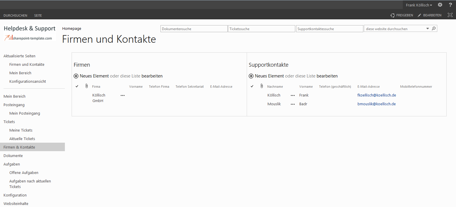 SharePoint Helpdesk Firmen und Kontakte