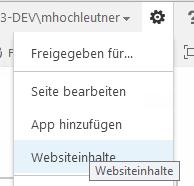 SharePoint Projektmanagement Webseiteninhalte