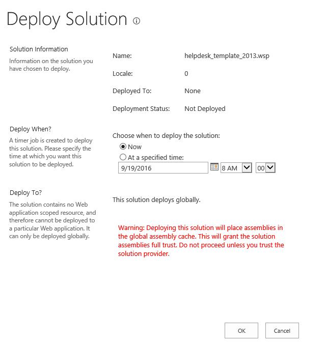 Deploy Solution Helpdesk