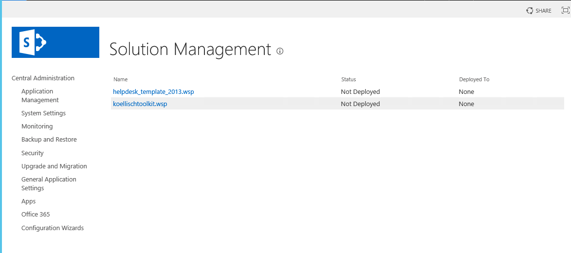 SharePoint 2016 Solution Management