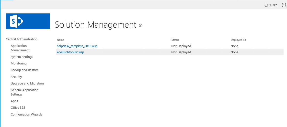 SharePoint 2016 Solution Management