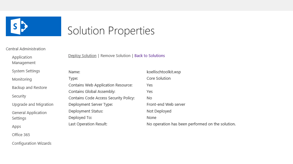 SharePoint 2016 Solution Properties