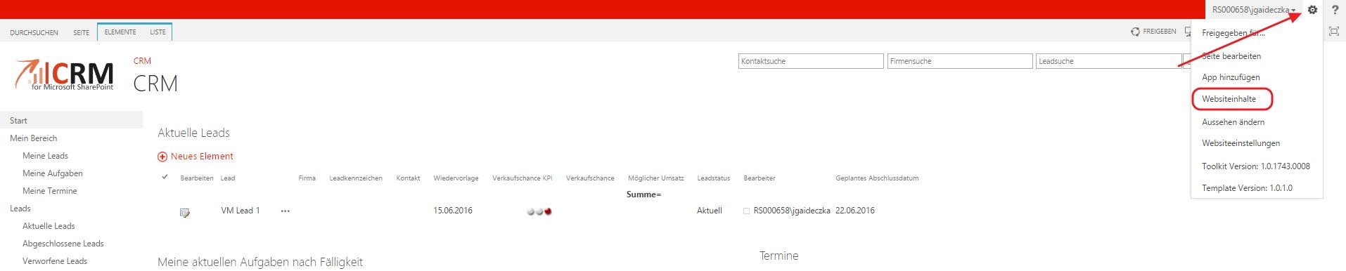 Um in SharePoint 2013 eine neue Webseite anzulegen müssen Sie zu den Webseiteninhalte navigieren