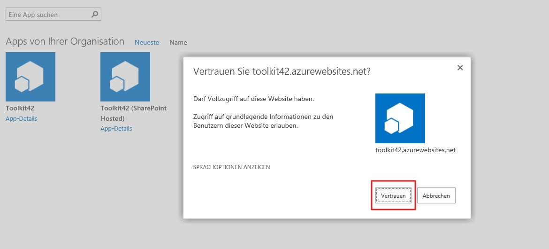 SharePoint online App vertrauen