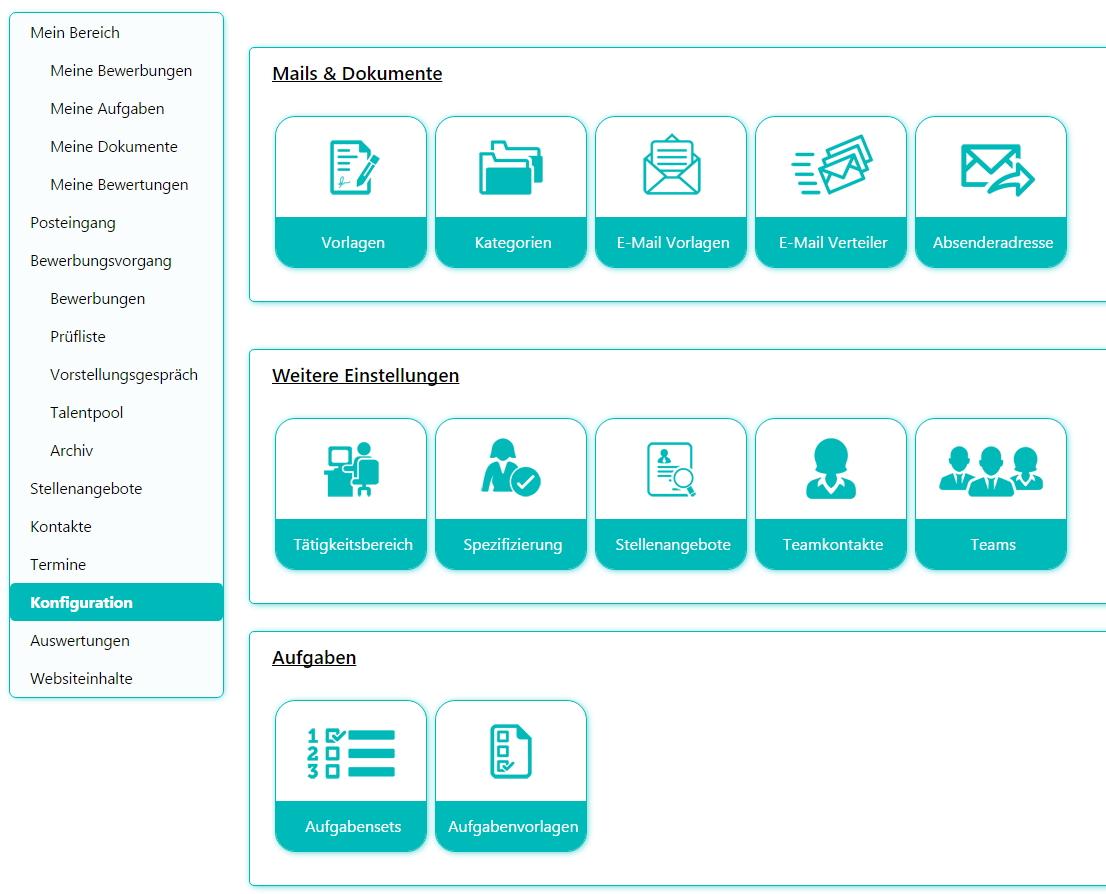 Die Konfigurationsansicht für das Bewerbermanagement für SharePoint 2013