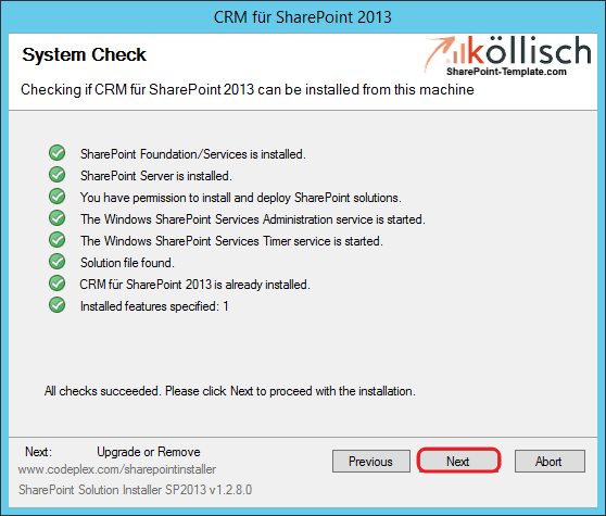 CRM Setupassistent Update 2 SharePoint