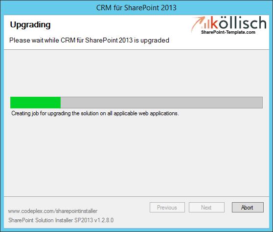 CRM Setupassistent Update Progress SharePoint