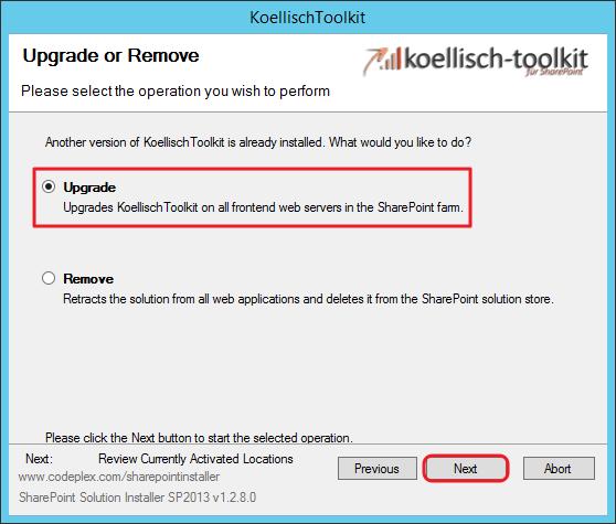 Toolkit update auswählen SharePoint