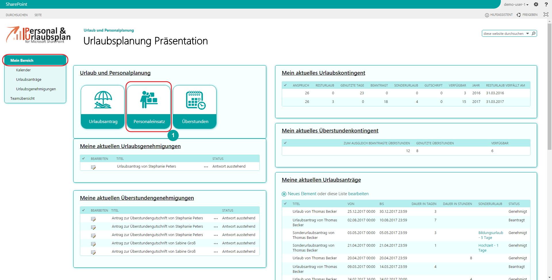 Urlaubsplanung SharePoint Personaleinsatz Planung Formular