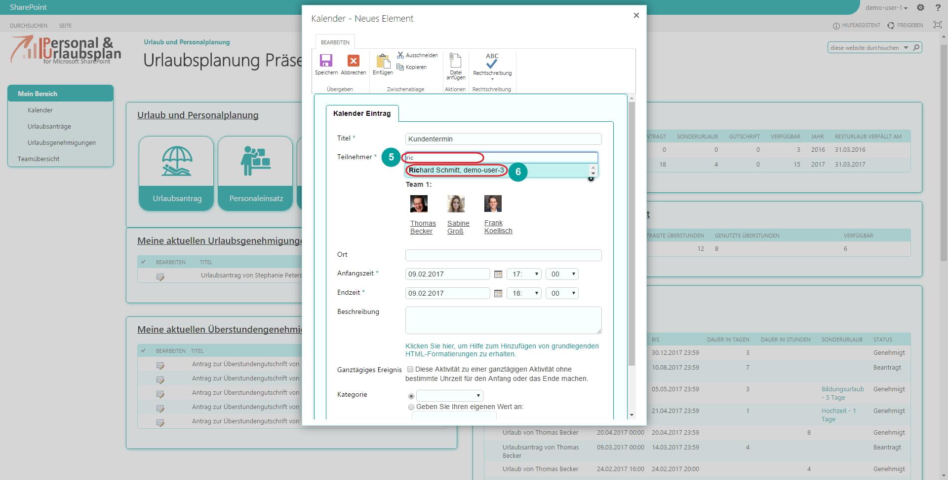 Urlaubsverwaltung SharePoint Teilnehmer bestimmen Teams Personaleinsatz