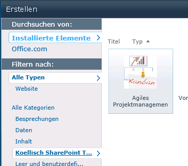 SharePoint Projektmanagement anklicken