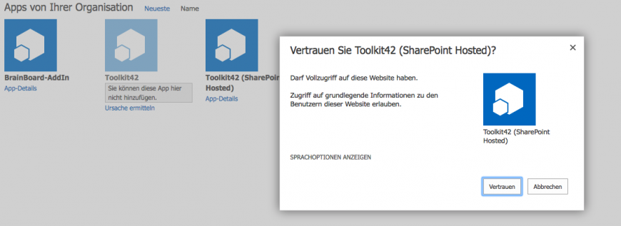 SharePoint Online Toolkit42 Suite SharePoint Hosted hinzufügen