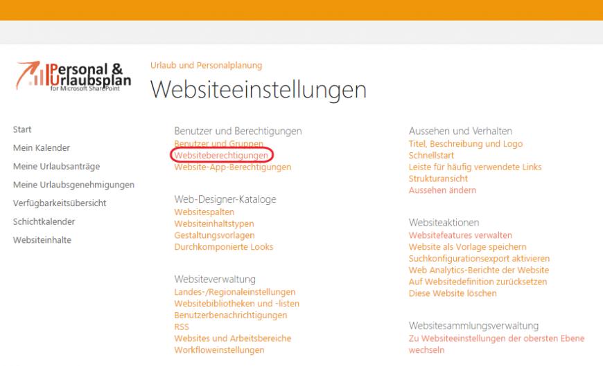 Urlaubsplanung Websiteberechtigungen SharePoint