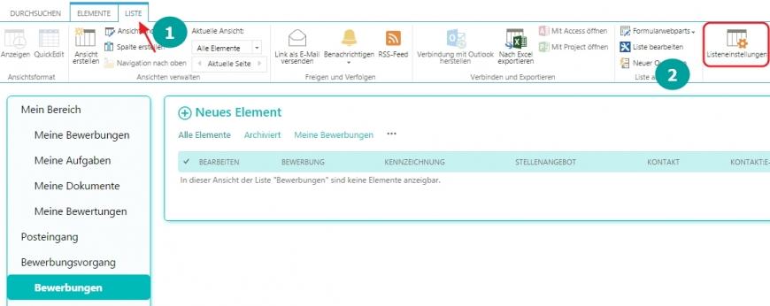 Ändern Sie die Berechtigung für die Bewerbung in der Listeneinstellungen der SharePoint 2013 Liste