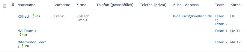 Verwaltung der Teamkontakte in SharePoint