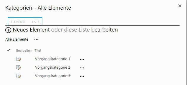 SharePoint Ticket Kategorien
