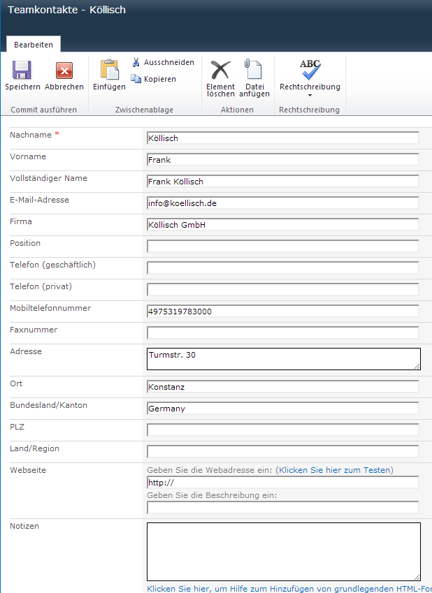 SharePoint Kontaktdaten