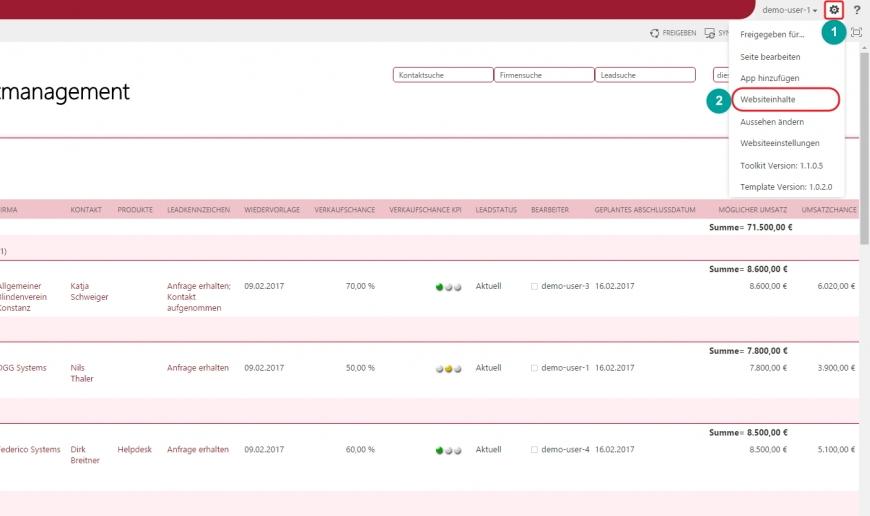 SharePoint Lösung Spalte Liste sortieren flexibel anpassbar Websiteinhalte