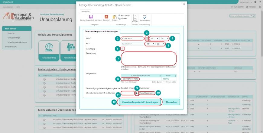 Urlaubsverwaltung SharePoint Anleitung Überstundengutschrift Antrag stellen Gutschrift