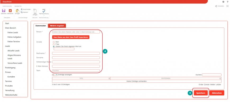 Teamkontakte - Stammdaten eingeben und speichern