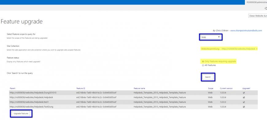 Web, Websitesammlung anpassen, SiteCollection auswählen,Nur nach Updates suchen