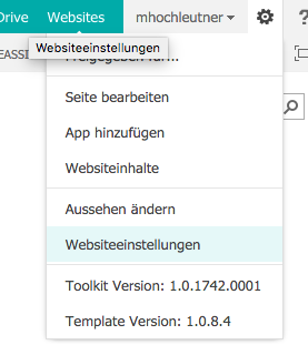SharePoint Websiteeinstellungen