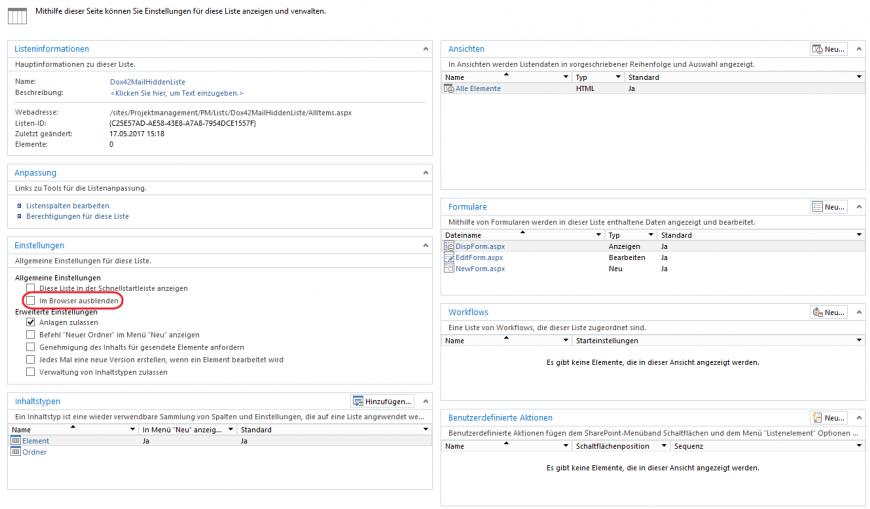 SharePoint Designer Liste verstecken Haken setzen