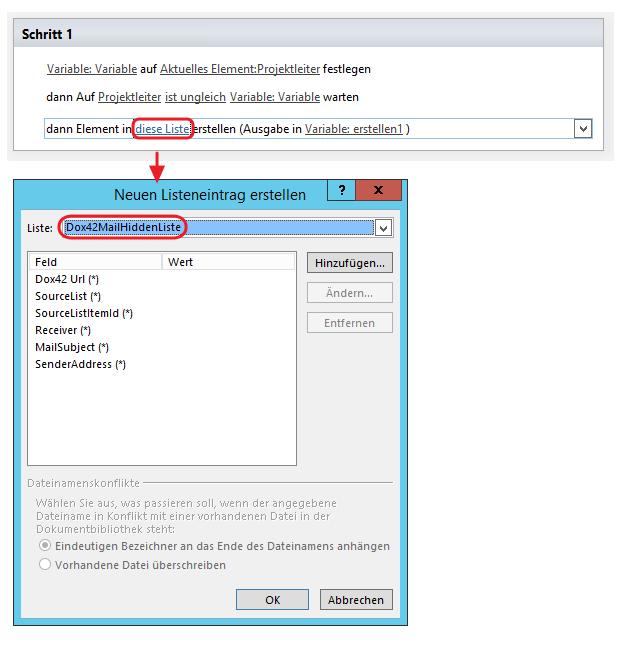 SharePoint Designer Listenelement Dox42MailHidden Liste hinzufügen