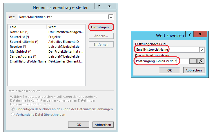 SharePoint Designer Posteingang E-Mail Verlauf 2