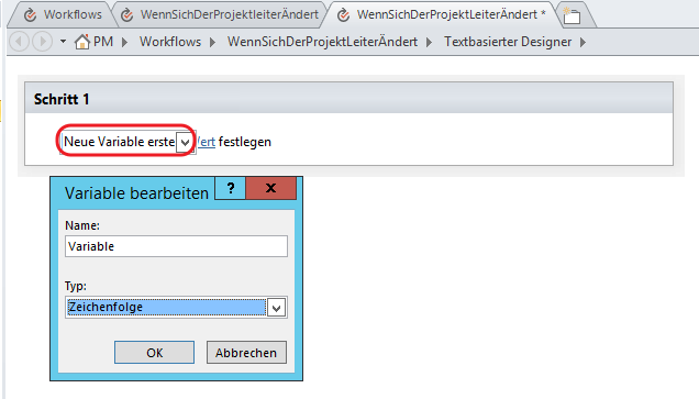 SharePoint Designer Variable erstellen