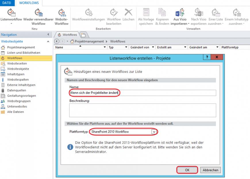 SharePoint neuen Workflow erstellen