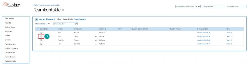 Projektmanagement - Bilder der Teamkontakte bearbeiten - 2. Teamkontakt auswählen
