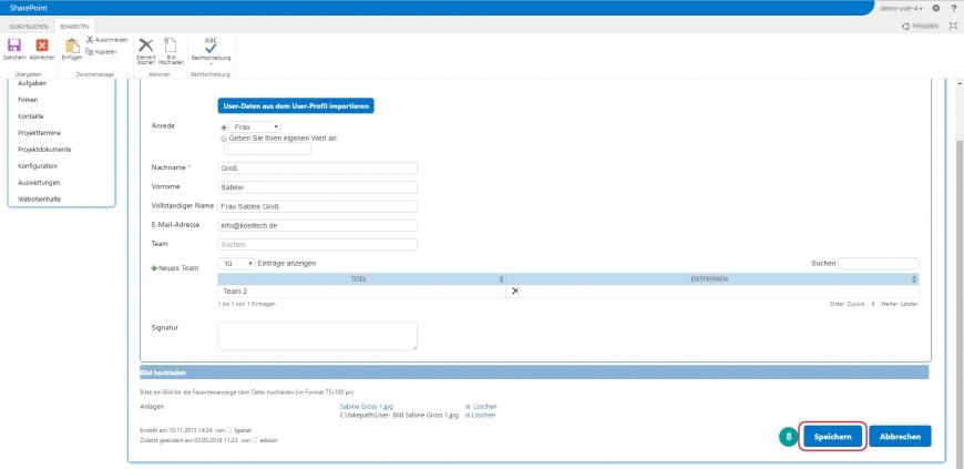 Projektmanagement - Bilder der Teamkontakte bearbeiten - 3. Speichern