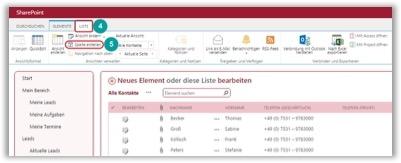 SharePoint eine neue Spalte erstellen Ribbon Bar
