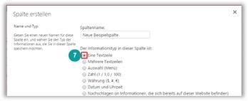 SharePoint Template Lösungen Spalte erstellen Informationsfeldtypen bestimmen