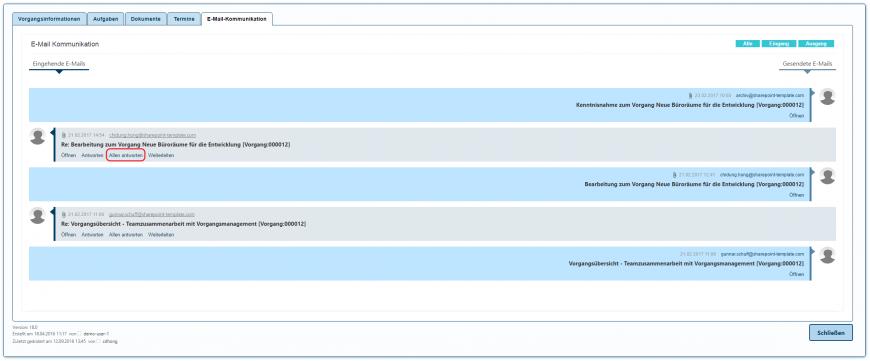 E-Mail Kommunikation allen antworten Button in SharePoint