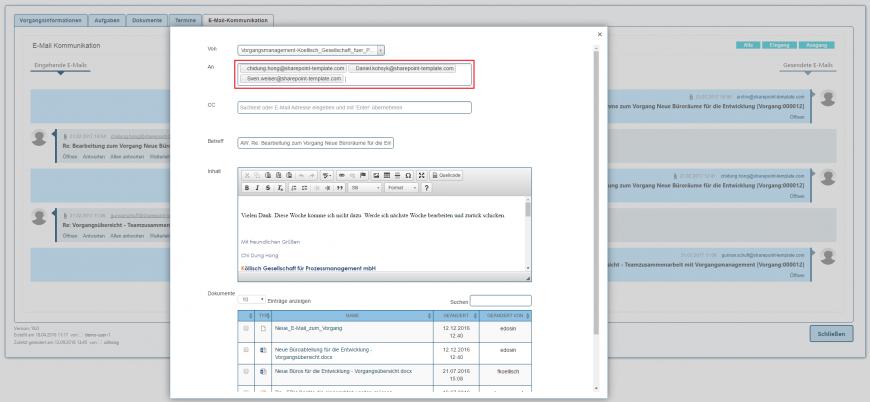 E-Mail Kommunikation allen antworten in SharePoint