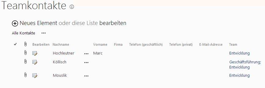 Personenauswahlfeld Teamkontakte Favoriten