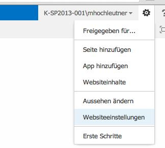 WebParts Websiteeinstellungen