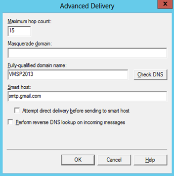 SharePoint define SMTP outgoing