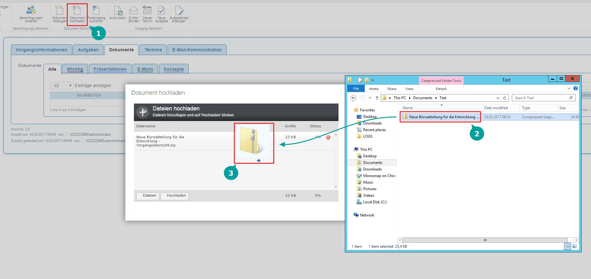 Zip automatisch entpacken Dokumentuploader SharePoint