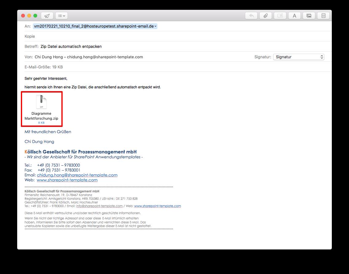 Zip Datei an Posteingang SharePoint