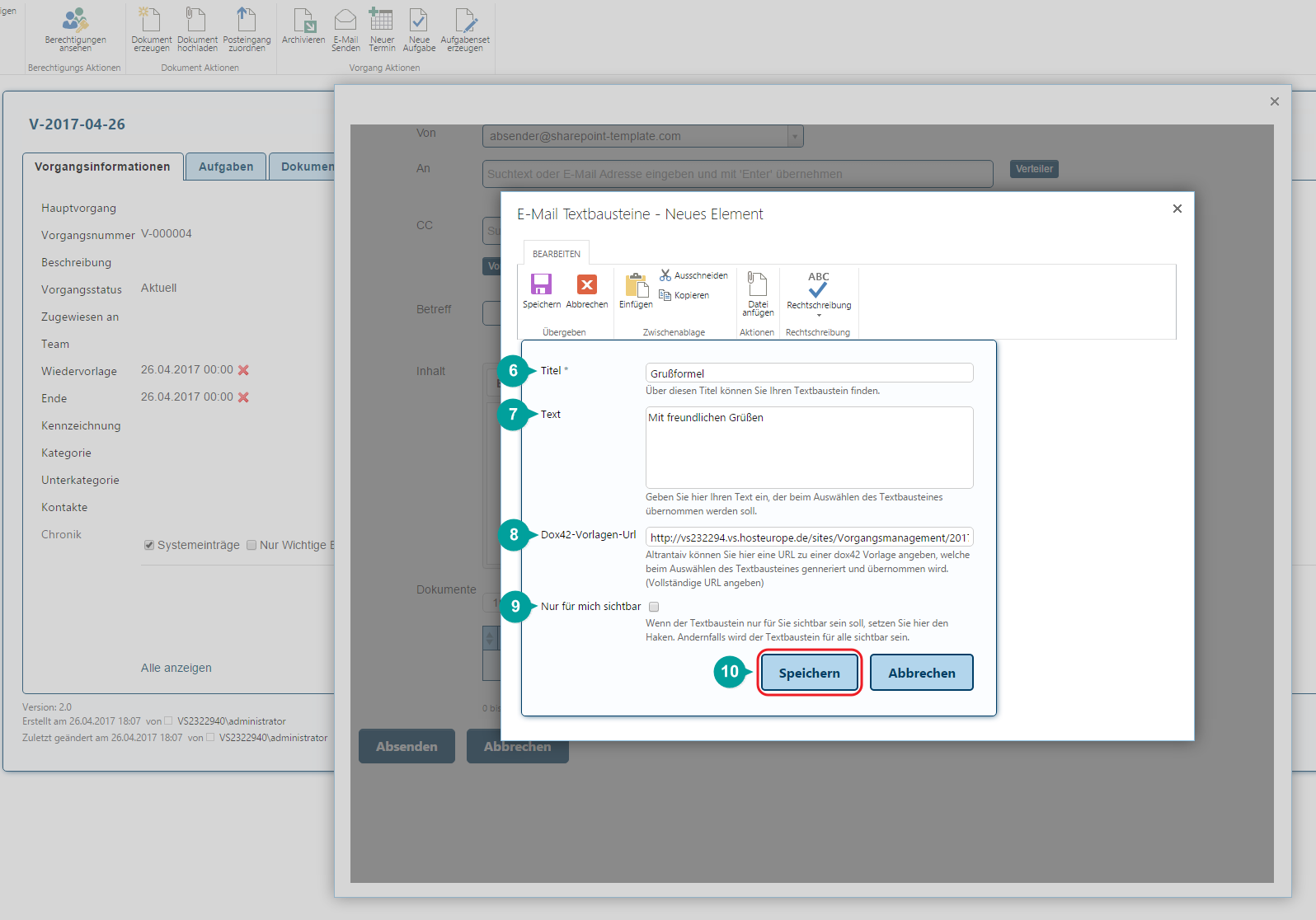 Neues Element Textbaustein Daten in SharePoint