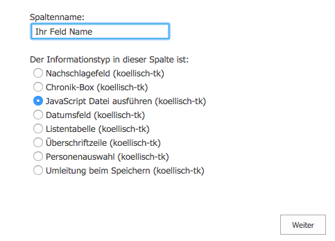 JavaScript als Spalte in einem SharePoint Formular hinzufügen