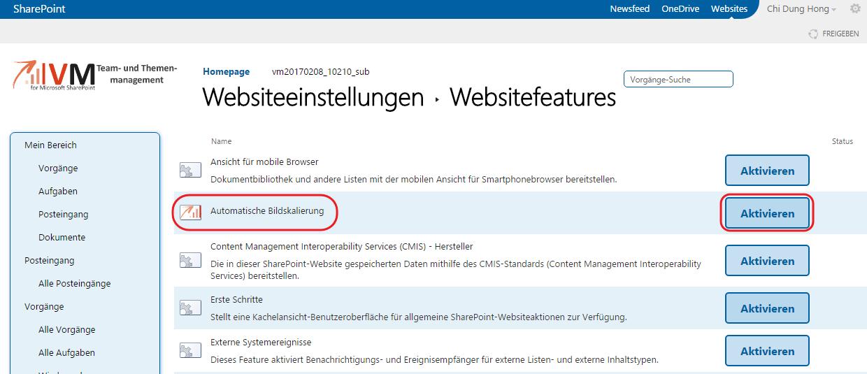 Automatische Bildskalierung aktivieren VM SharePoint