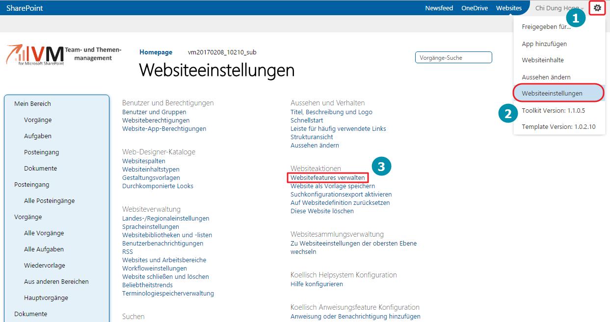 WebsiteFeatures VM SharePoint
