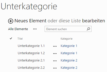 Screenshot Liste Unterkategorie