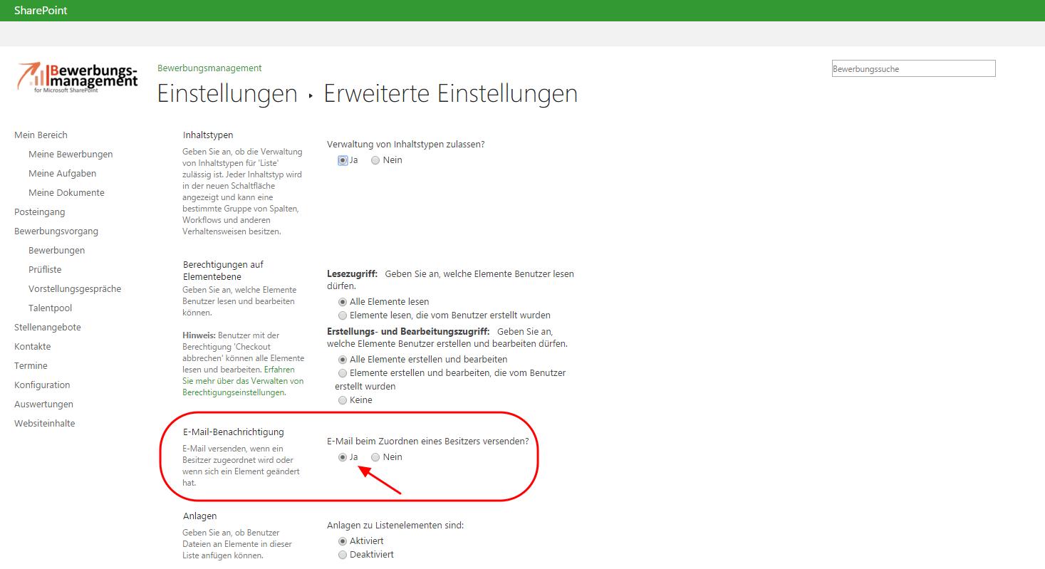 E-Mail-Benachrichtigung aktivieren SharePoint