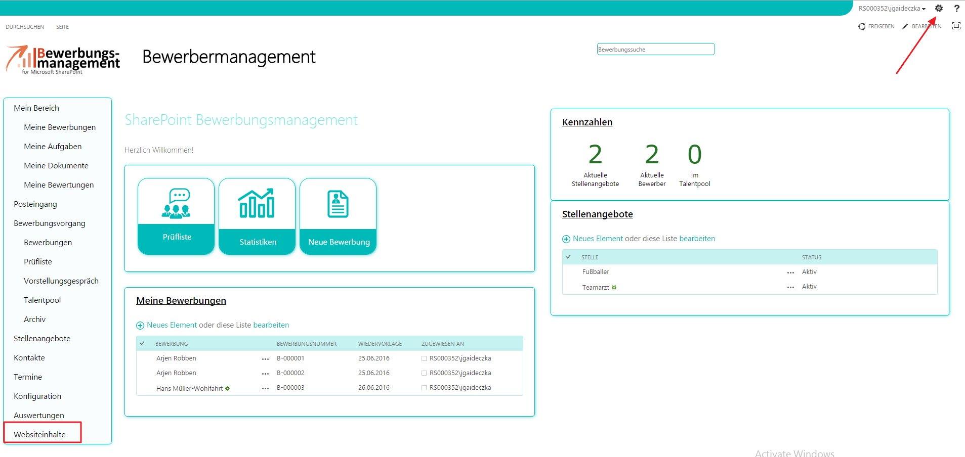 bewerbermanagement bewertungskriterien erweitern sharepoint
