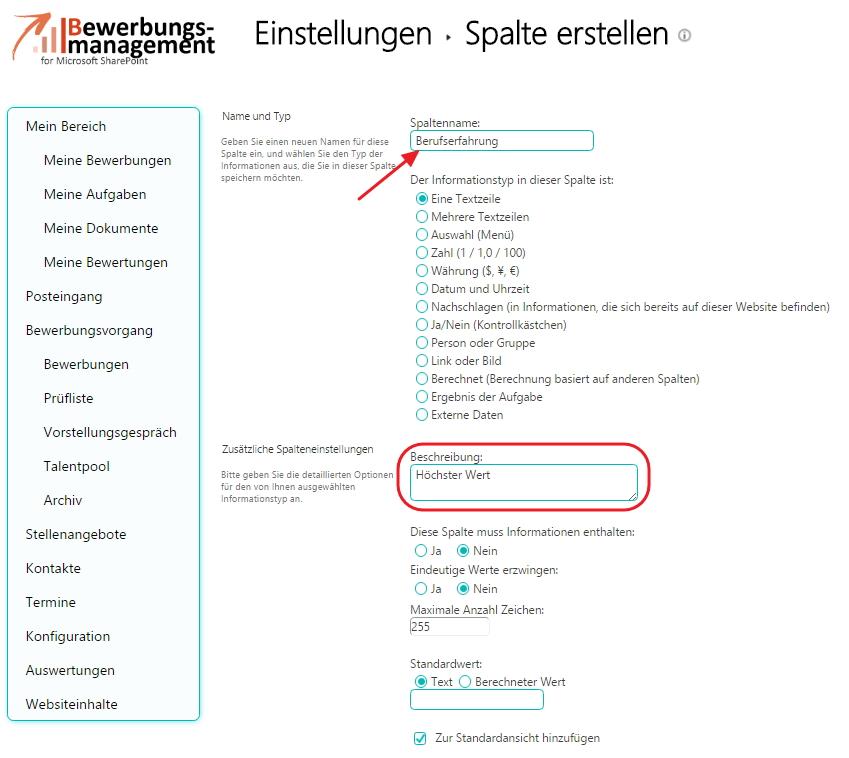 bewerbermanagement bewertungskriterien erweitern sharepoint bewertungsergebnisspalte_anlegen